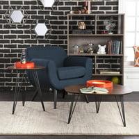 Holly & Martin Bannock 2-Piece Table Set, Dark Tobacco with Black