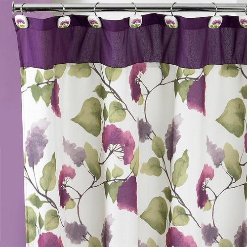 Beautiful Water Color Style Painted Lilac Shower Curtain and Hooks Set or Separates Shower curtain and hooks set