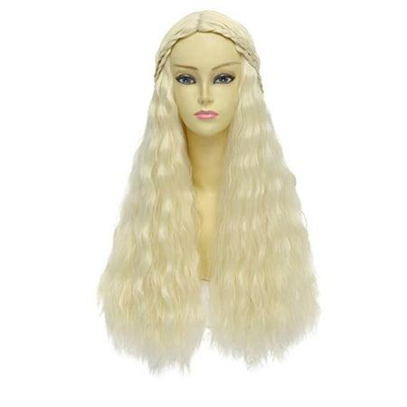 Game of Thrones Cosplay Wig Daenerys Targaryen khaleesi Long Curly Hair (Beige) - Daenerys Targaryen Wig