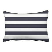 RYLABLUE Rectangl Throw Pillow Covers Navy Blue Nautical Stripes Outdoor Pillowcases Polyester 20 x 30 Inch With Hidden Zipper Home Sofa Cushion Decorative Pillowcase