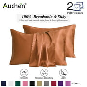 "2 Pack Satin Silk Pillowcase for Hair and Skin, Ultra Silky Satin Pillow Covers with Envelope Closure, Both Sides Artificial Silk, Multiple Colors and Sizes - Standard Size (20""x26"")  Coffee"