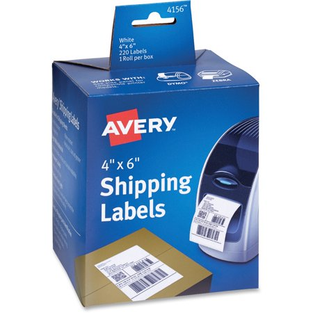 Avery Thermal Printer Shipping Labels, 4 x 6, White, 220/Roll, 1