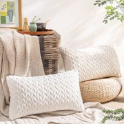 """Phantoscope Quilted Velvet Braid Textured Pleated Square Decorative Throw Pillow Cushion for Couch, 12"""" x 20"""", White, 2 Pack"""