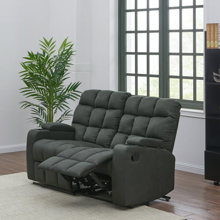 ProLounger Wall Hugger Storage Reclining Sofa in Gray Microfiber