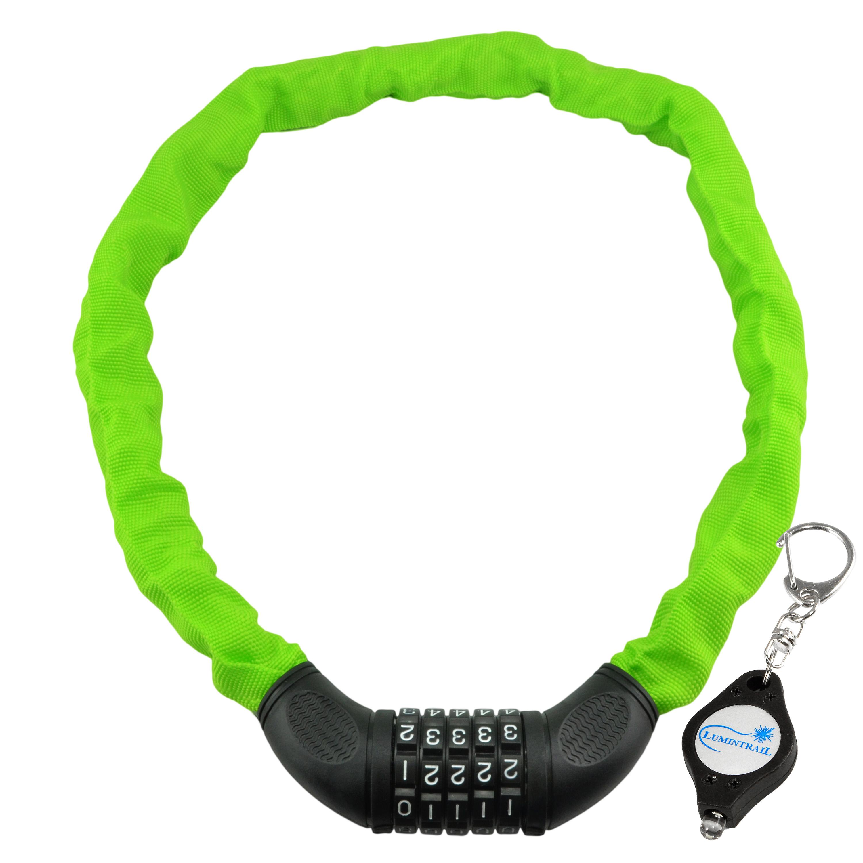Lumintrail Combination Bike Chain Lock w/ Gift Keychain Light, 6x900mm bicycle security