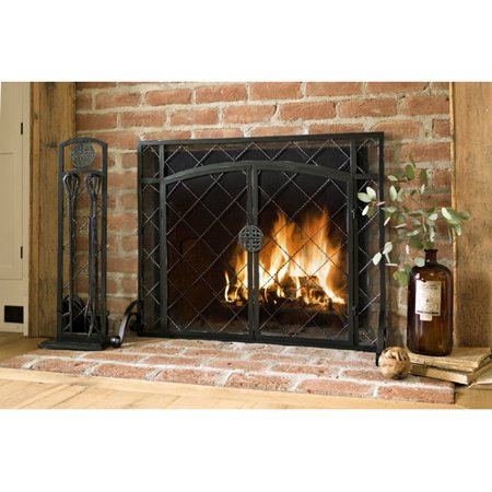 2 Door Celtic Knot Flat Fireplace Screen 39 W X 31 H In Pewter