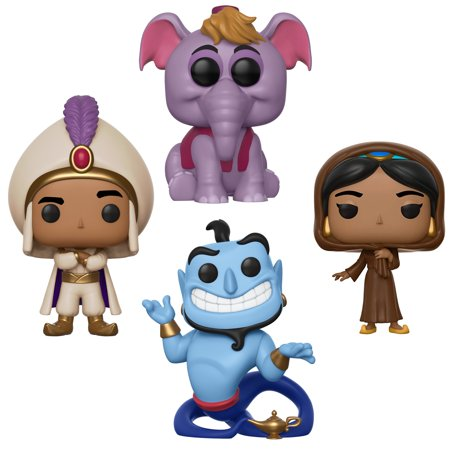 Funko POP! Disney Aladdin Collectors Set - Prince Ali, Jasmine in Disguise (Possible Limited Chase Edition), Elephant Abu, Genie with Lamp
