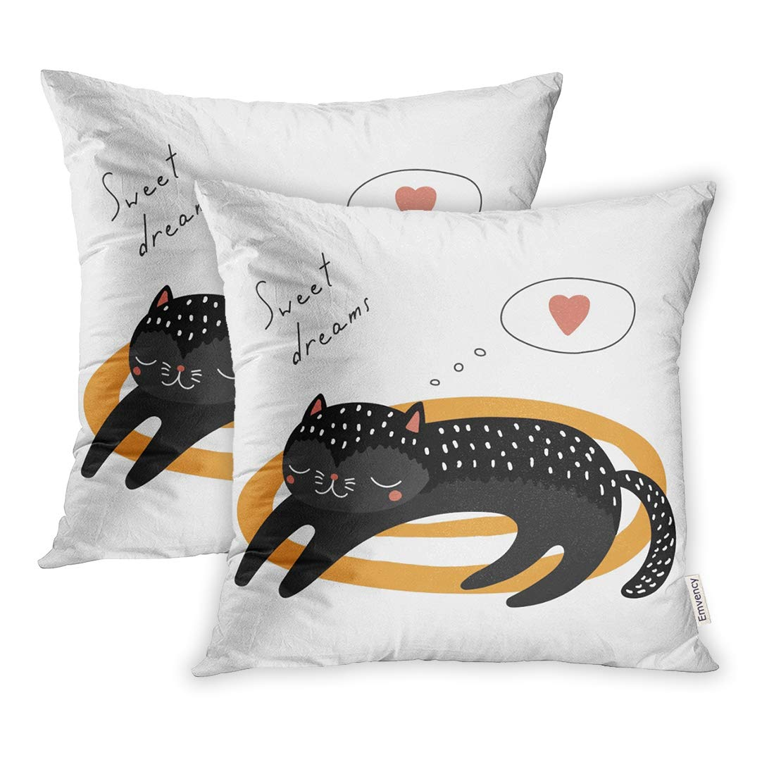 YWOTA Christmas Cute Funny Cartoon Black Cat Sleeping on Heart Quote Kids Winter Pillow Cases Cushion Cover 20x20 inch