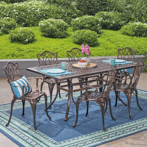 Fleur De Lis Living Berton Outdoor 7 Piece Dining Set