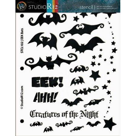 EEK Bats! Stencil - 1/2