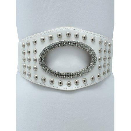 - Wide Silver Stud Waist Belt With Rhinestone Oval