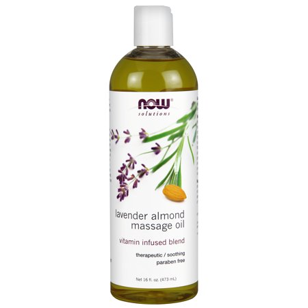 NOW Solutions, Lavender Almond Massage Oil, Vitamin Infused Blend, Therapeutic and Soothing, 16-Ounce Lanolin Liquid Massage Oil