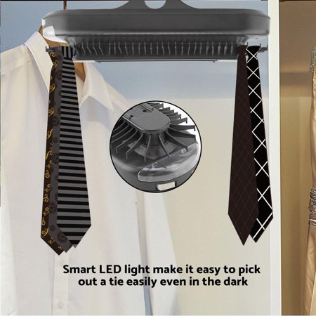 Electric Rotating Tie Rack,Tie Rack,YMIKO Electric Rotating Tie Rack Belt Hook Hanger Holder Organizer with LED Light