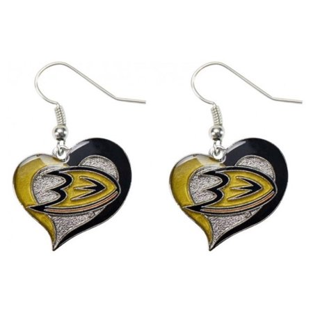NHL Swirl Heart Earrings Dangle Charm Team Logo PICK YOUR TEAM w/Gift -