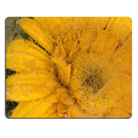 POPCreation bright beautiful yellow flower frozen in ice with air bubbles Mouse pads Gaming Mouse Pad 9.84x7.87 inches