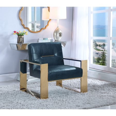 Chic Home Stefan Modern Contemporary Sculptural Polished Brass - Finished Stainless Steel Leatherette Accent Chair, Navy