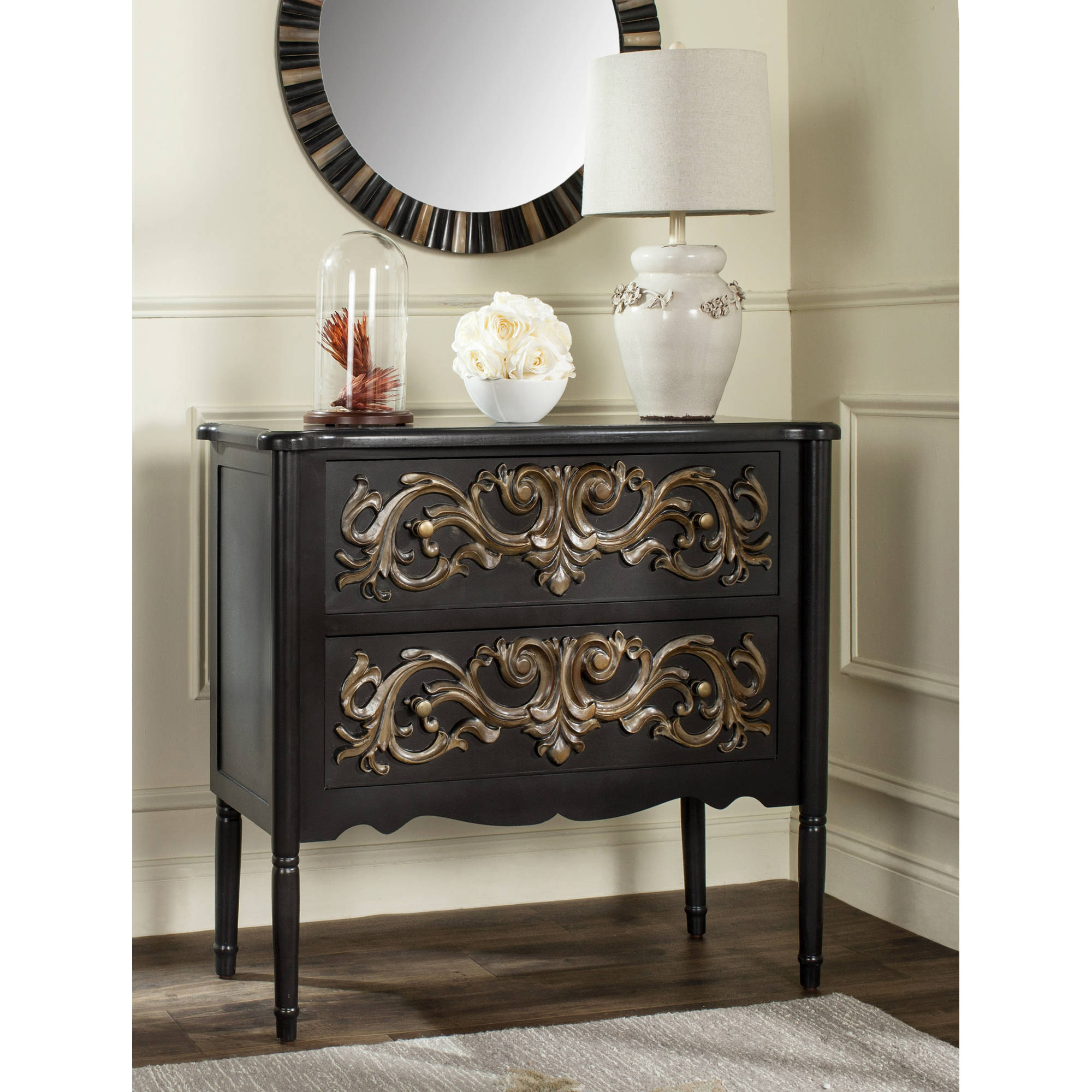Safavieh Lennx 2-Drawer Storage Chest, Black/Gold