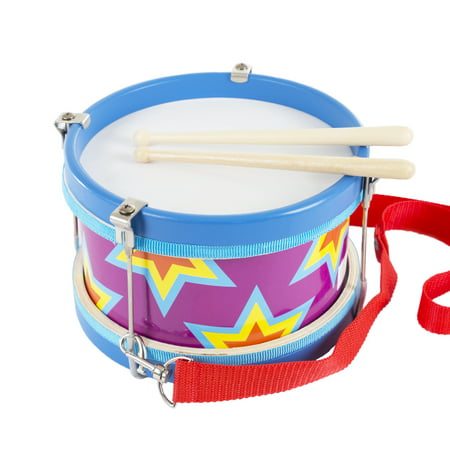 Drum Workshop Tom - Children's Toy Snare Marching Drum, Double-Sided with Adjustable Neck Strap and Two Wood Drum Sticks by Hey! Play!