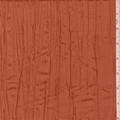 Iridescent Dark Tangerine Crushed Polyester Taffeta, Fabric By the Yard