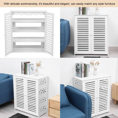 Hilitand Double Door Shoe Cabinet Fashionable Storage Shelf Organizer  Living Room Bedroom Furniture Corner Cabinet