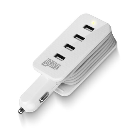 3ft 4-Ports USB Car Charger Power Strip Travel Charging Cord Station Dock for Cell Phones iPone Samsung Road
