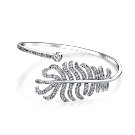 Bypass Bangle (Boho Fashion Cubic Zirconia CZ Pave Bypass Leaf Feather Statement Bangle Bracelet For Women For Prom Silver Plated Brass )