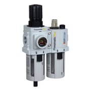 "PneumaticPlus PPC3A-N03G Compressed Air Filter Regulator Piggyback Lubricator Unit 3/8"" NPT, Particulate Air Filter (5 Micron), Manual Drain, Poly Bowl, Gauge"