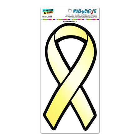 Yellow Awareness Support Ribbon - Troops Armed Forces Bone Cancer Suicide Prevention MAG-NEATO'S(TM) Car/Refrigerator Magnet