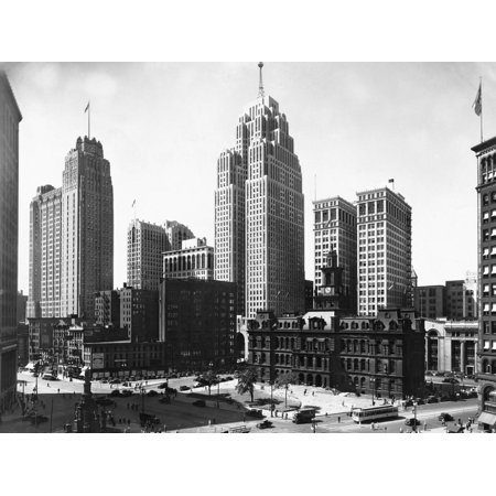 Mall Street in Detroit, Michigan Cityscape Black and White Photography Print Wall (Outlet Mall In Michigan)