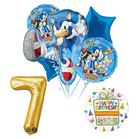 Sonic The Hedgehog 7th Birthday Party Supplies and Balloon - Sonic Birthday