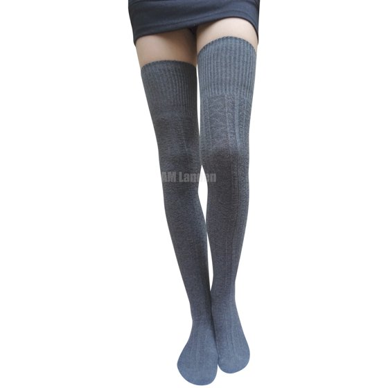 cff1a3366e6 AM Landen - AM Landen Gray Thigh-High Knit Socks - Walmart.com