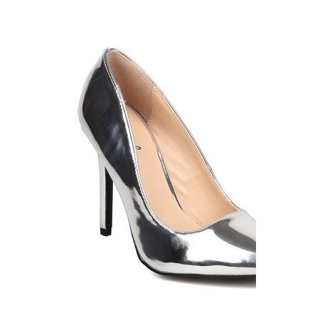 New Women Qupid Milia-01 Metallic Leatherette Pointy Toe Stiletto Pump