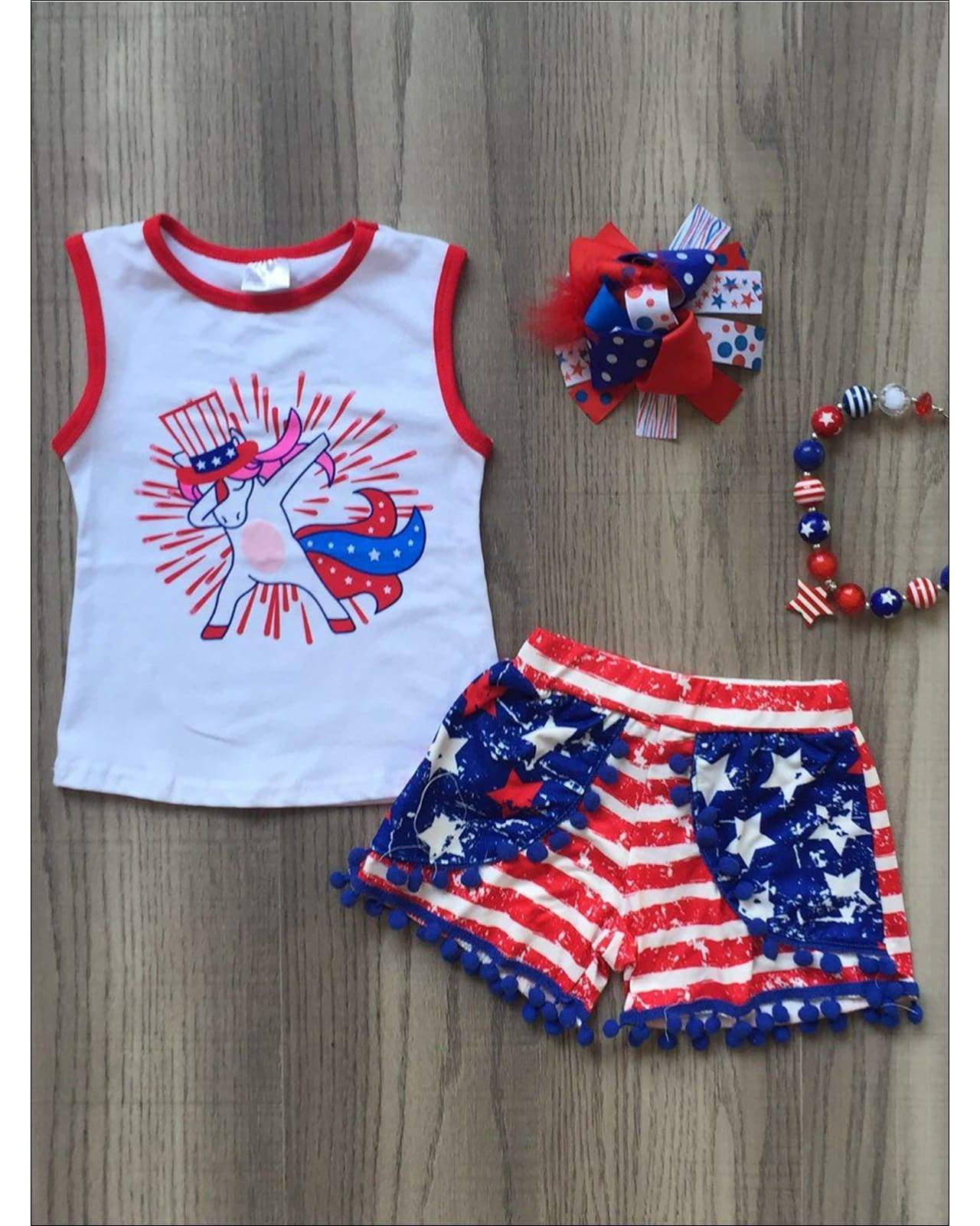 TuTu Shorts Set Baby Girl 4th of July Patriotic Outfit US Flag Print Vest Tops