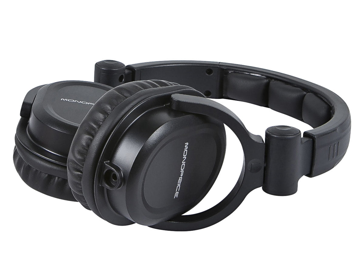 186985aa761 Monoprice Premium Hi-Fi DJ Style Over-the-Ear Pro Headphones With A  Single-button Inline Microphone/Controller - Walmart.com