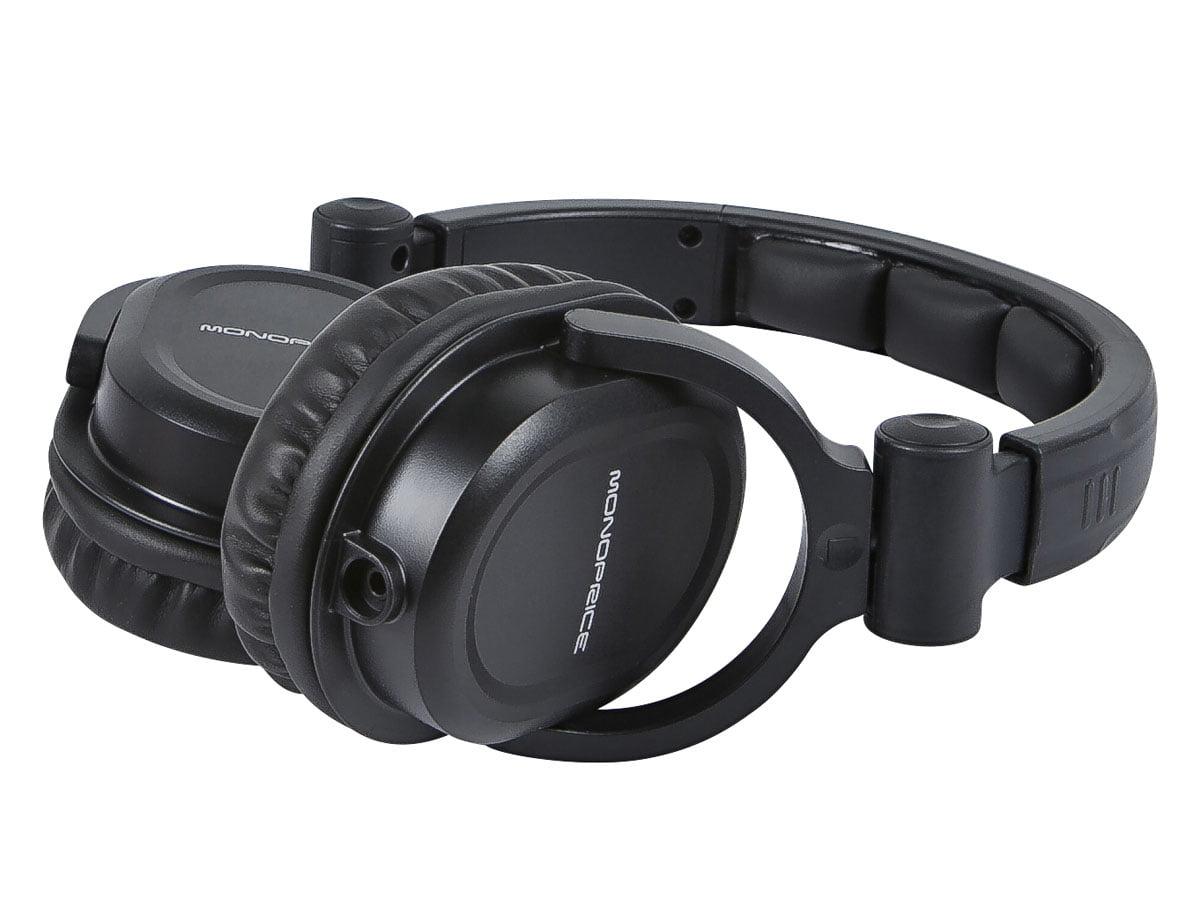 fae0e96c92e Monoprice Premium Hi-Fi DJ Style Over-the-Ear Pro Headphones With A  Single-button Inline Microphone/Controller - Walmart.com