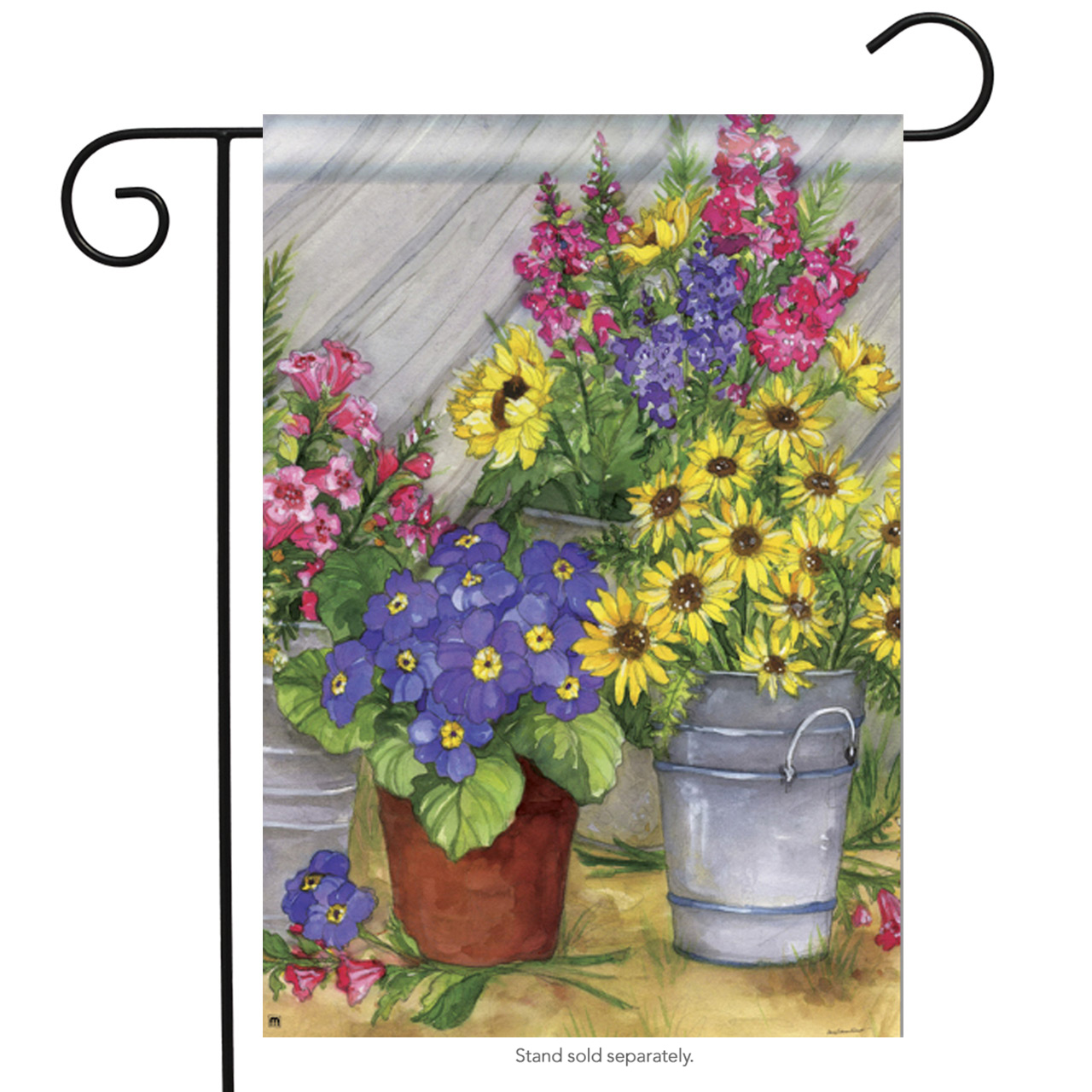 "Blossom Buckets Spring Garden Flag Floral Decorative Mini Banner 12.5"" x 18"""