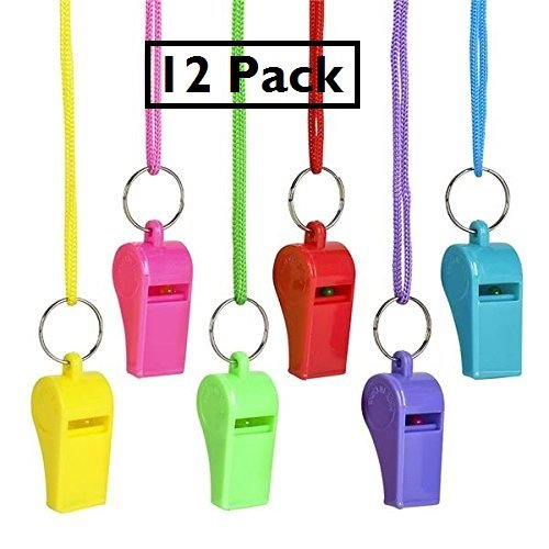 Plastic Neon Necklace Whistles - 12 Pack Assorted Colors Fun Noise Making Whistles On Nylon Braided Cord - Party Birthday Favors, Sports Team, Gifts Loot Bags – By Katzco