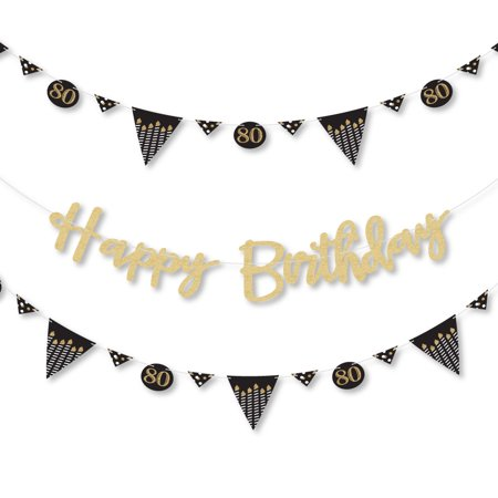 Adult 80th Birthday - Gold - Birthday Party Letter Banner Decoration - Real Gold Glitter Happy Birthday Banner Letters