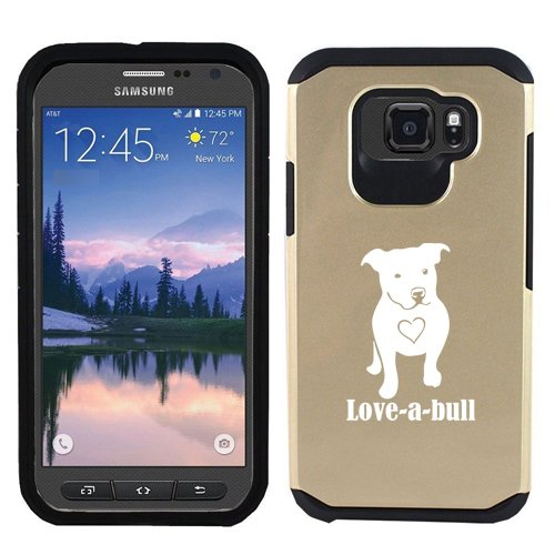 For Samsung Galaxy (S7 Active) Shockproof Impact Hard Soft Case Cover Love-A-Bull Pit Bull Love (Gold)