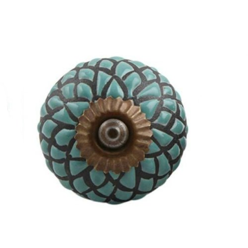 MarktSq Handpainted Etched Ceramic Drawer Round Knob