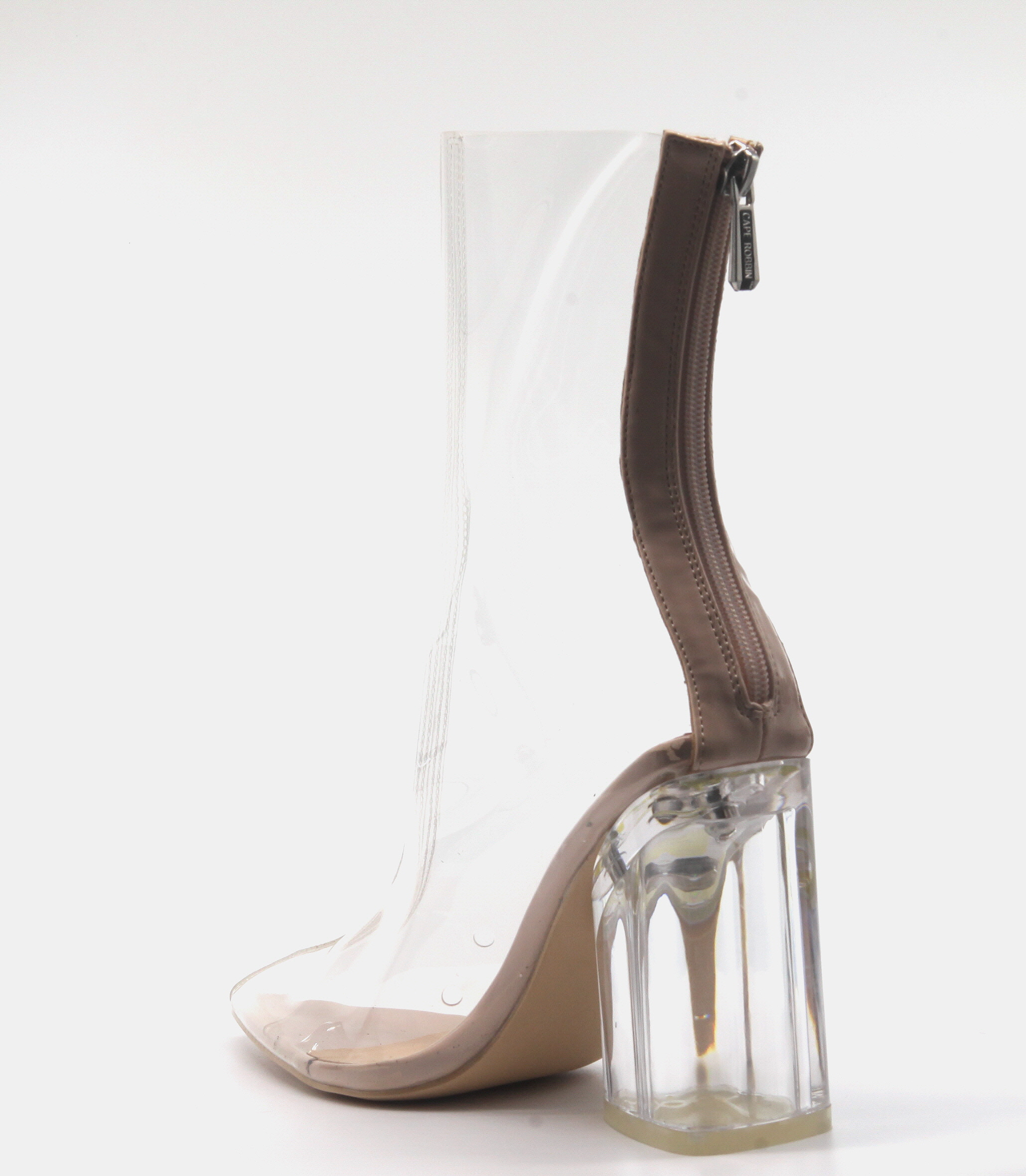 a21d22bb05a CAPE ROBBIN Crystal Glaze Womens Perspex Lucite Clear Pointy Toe Chunky  Heel Ankle Boots