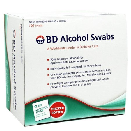 BD Alcohol Swabs 100 Each (Pack of 5), pack of 5 (547482) By Becton Dickinson ()