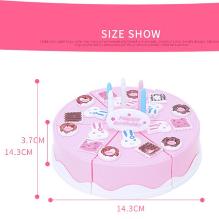 24Pcs Plastic Kitchen Cutting Toy Pretend Play Food Assortment Toy Set Birthday Cake for Kids DIY Style:Pink - image 2 de 6