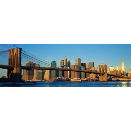 Panoramic View of Brooklyn Bridge & East River At Sunrise with New York City Ny Skyline Post 911 View Poster Print, 36 x 12