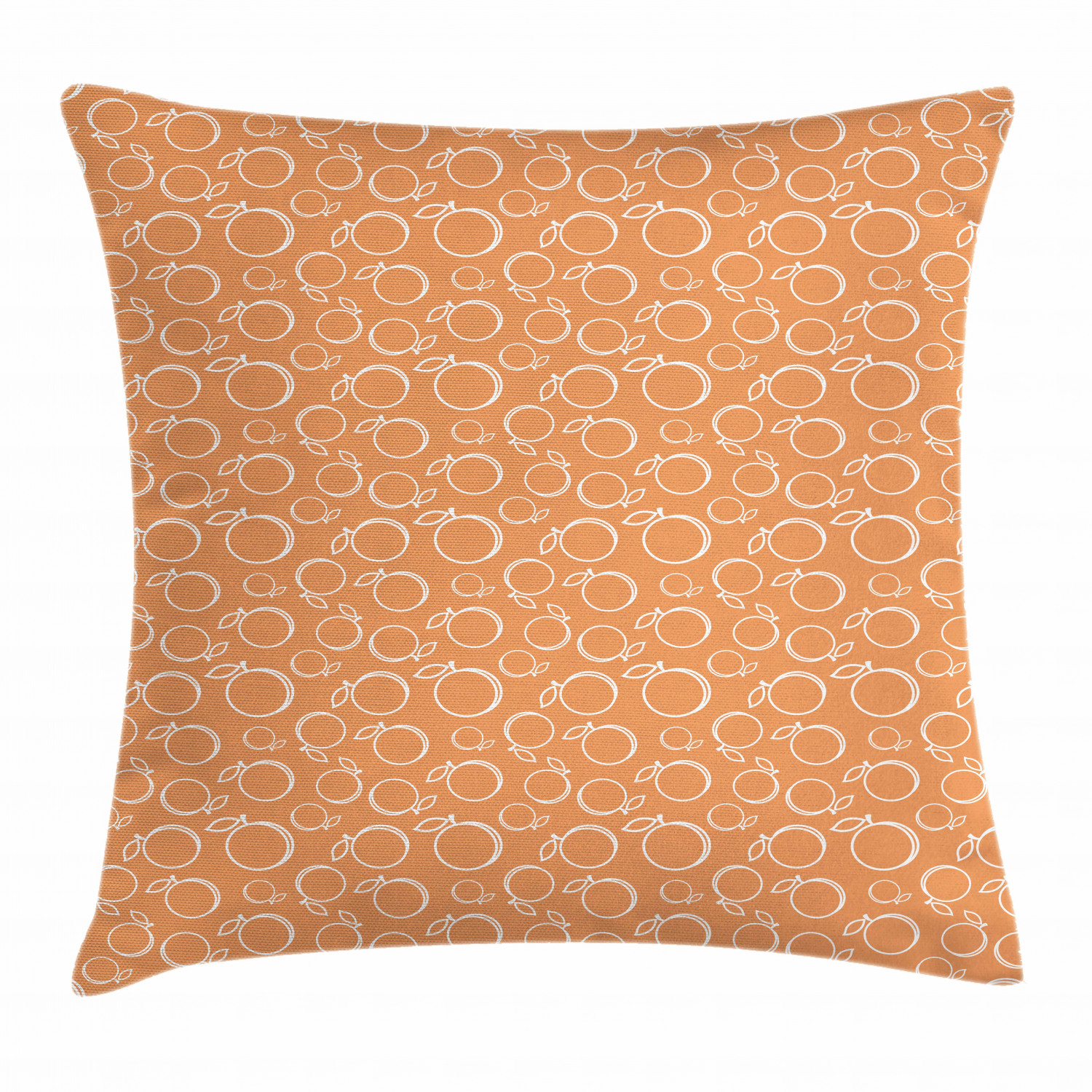 Peach Throw Pillow Cushion Cover Continuous Pattern With Ripe And Sweet Summer Fruits Graphic Image Print Decorative Square Accent Pillow Case 18 X 18 Inches Dark Peach And White By Ambesonne