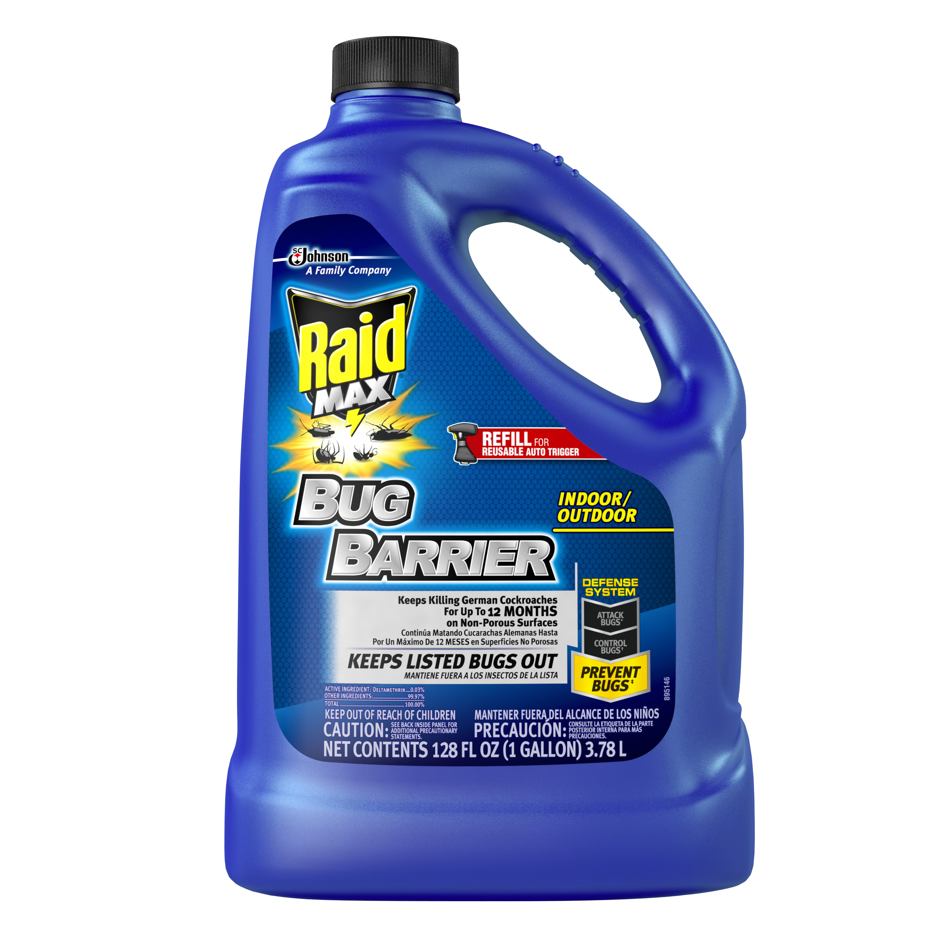 Raid Max Bug Barrier Trigger Refill, 128 Ounces