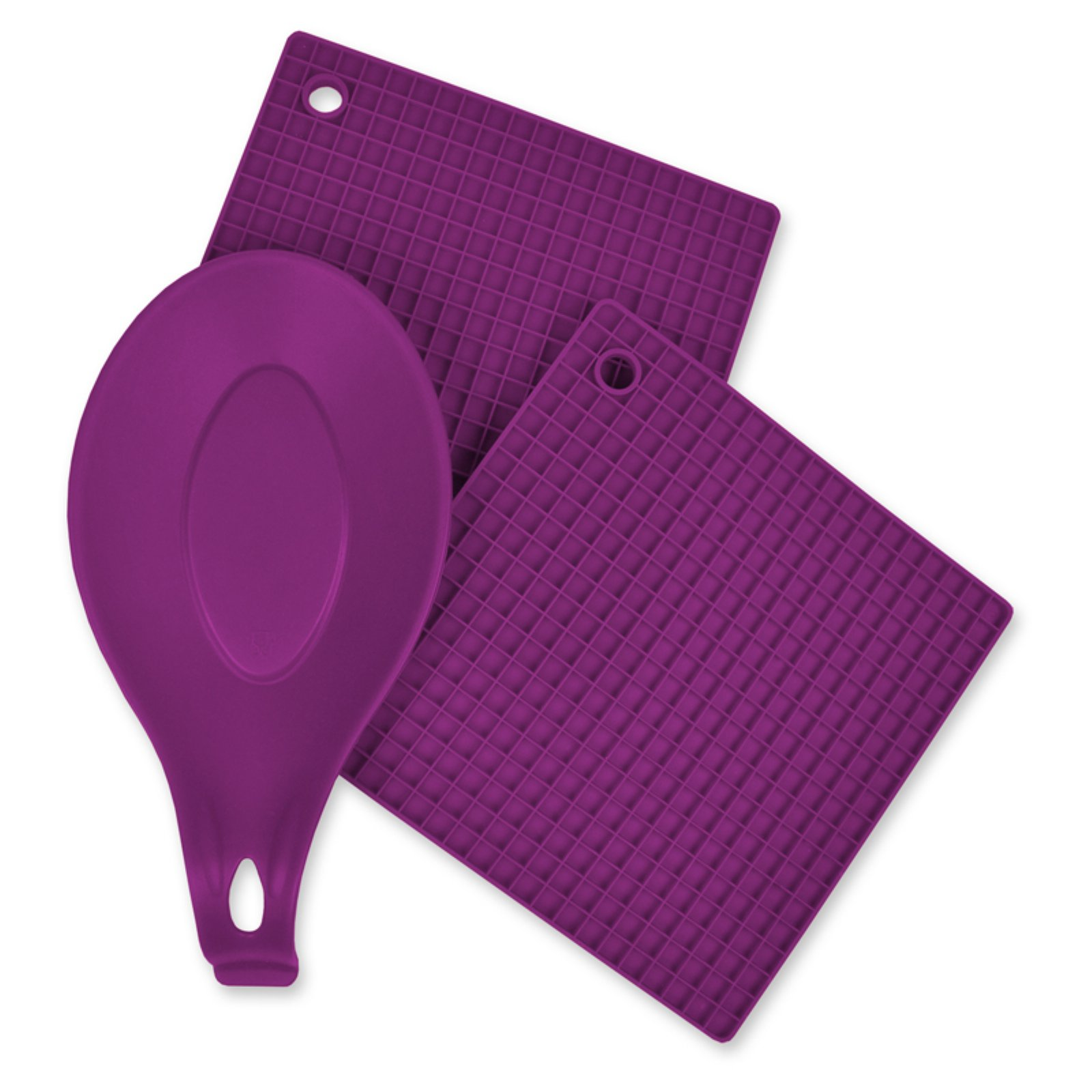 Design Imports Red 3 Piece Kitchen Accessory Set - Includes 2 silicone potholder/Trivets and 1 silicone spoon rest.
