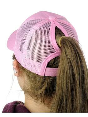 PONYTAIL BASEBALL HAT PINK PONYCAP ADJUSTABLE TRUCKER MESSY HIGH BUN MESH CAP WOMENS PONY TAIL SLOT HAT