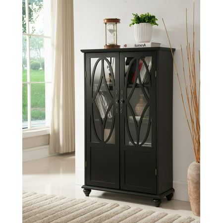 (Tyler Black Wood Contemporary Curio Bookcase Display Storage Cabinet China With Glass Doors)