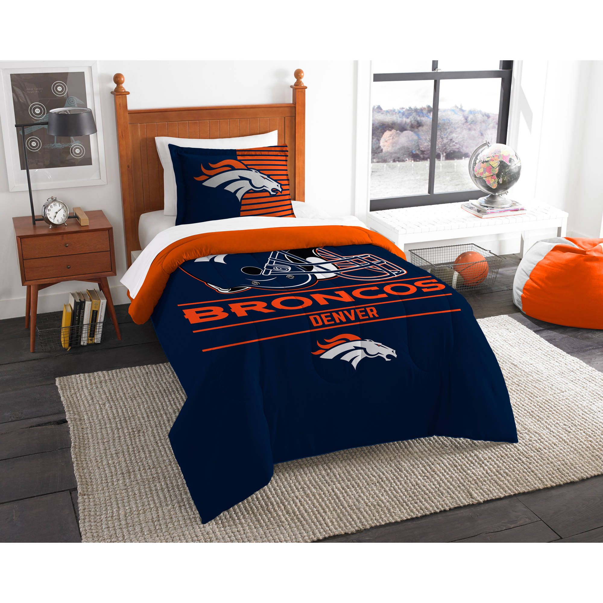 "NFL Denver Broncos ""Draft"" Bedding Comforter Set"